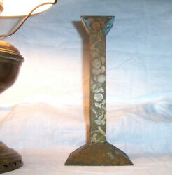 Antique Candlestick Arts amp; Crafts dated 1910 Decorated Hammered Brass