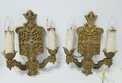 Pair Of True Vintage Double Light Arm Electric Candle Metal Wall Sconces