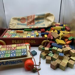 Vintage Playskool Pull Toy Wooden Wagon With Wood Building Blocks