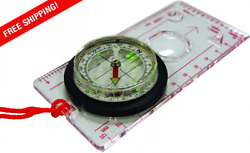 Ust Deluxe Map Compass With Raised Base Plate And Swivel Bezel For Hiking Cam...