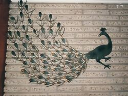 Vintage Peacocks Metal Wall Hangings Two 2 Mid-century1960and039s