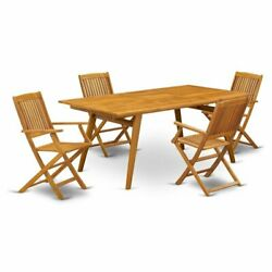East West Furniture Denison 5-piece Wood Outside Patio Dining Set In Natural Oil