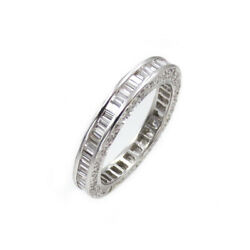Seevideo 2ct Baguette Diamond Eternity Band In 18k White Gold Size 5.5, 3mm Wide
