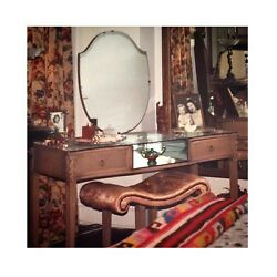 1920s Oak Vanity Mirrored Dressing Table And Bench Painted Shabby Chic Furniture