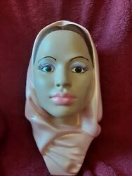 Beautiful Vintage Marwal Chalkware Head Middle East Woman With Scarf