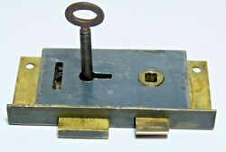 Splendid Victorian Antique Brass And Steel Cupboard Lock And Latch With Key