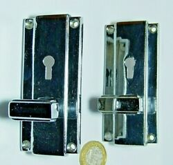 Splendid Pair Of Art Deco Antique Chromed Brass Cupboard Latches And Keyholes