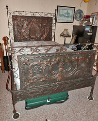 Outstanding Antique Repoussandeacute Copper And Iron Full Size Bed + New Mattress Puo