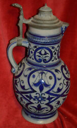 Hauber And Reuther Ceramic Blue Scrollwork Pewter Lidded Stein 2.0 L
