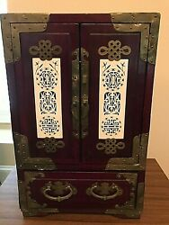 Large Antique Chinese Jewelry Box - 12 Lacquered Rosewood Brass Jade