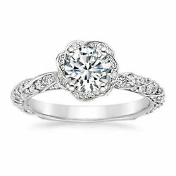 Genuine Real 1.00 Ct Diamond Engagement Ring Sets Solid 14k White Gold Ring 5 6