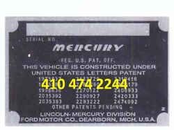 Mercury Data Plate Serial Number Id Tag Vin Stamping Available