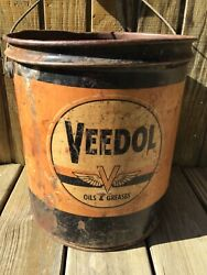 Vintage Rare Veedol Grease Oil Can