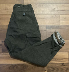 Vintage Wool Three Crown Swedish Trousers Military Army Wwii Hunting Thick Pants
