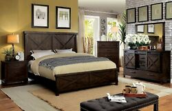 Modern Style Furniture 4pc Bedroom Set Cal King Bed Dresser Mirror Ns Wooden