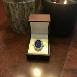 3.48 Ct Real Diamond Blue Diana Sapphire Rings 14k Solid White Gold Size 6 7 8 9