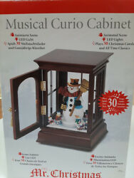 Mr. Christmas 2009 Musical Animated Lighted Curio Cabinet Snowman30 Tunes Nrfb