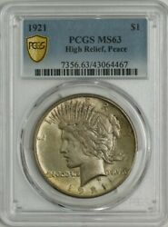1921 Peace Silver Dollar High Relief Ms63 Pcgs 944548-6