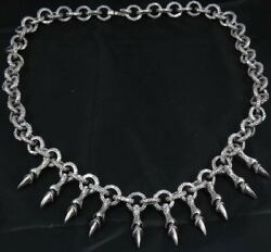 20 154g Tribal Dragon Claws Snake Rings Mens Necklace Chain 925 Sterling Silver