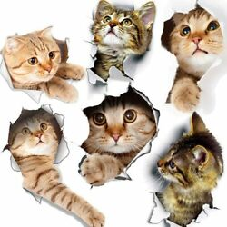 3D Wall Decals 6pcs 3d Wall Stickers Cats Self Adhesive Kids Wall Decals