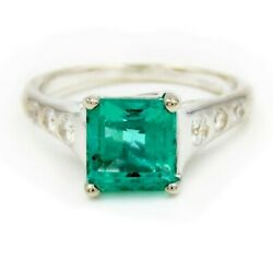 Seevideo Lucida 1.90ct Emerald And Diamond Engagement Ring In Platinum Size 4.25