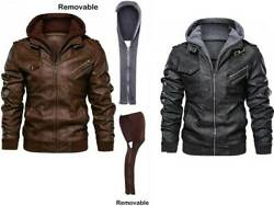 Bikerand039s Fashion Bomber Casual Stand Collar Leather Zip-up Jacket Removable Hood