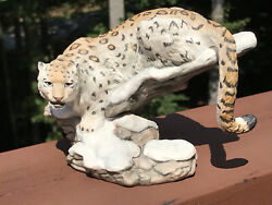 Franklin Mint Snow Leopard Porcelain Figurine Great Cats of the World 1989 NICE
