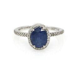 Oval Blue Sapphire Diamond Halo Ring In 18k White Gold