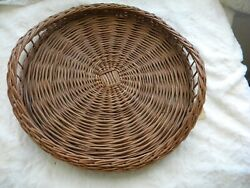 vintage round wicker serving tray basket with woven in handles