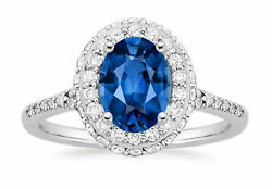 1.90 Ct Natural Oval Cut Diamond Real Blue Sapphire Ring 14k White Gold Size 8 9