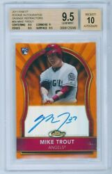 2011 Topps Finest Mike Trout Rc Rookie Autographs Orange Refractor /99 Bgs 9.5