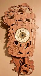 BEAUTIFUL HAND CRAFTED CARVED OUT DEER Wall Pendulum Clock Battery Operated