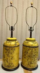 """Rare Pair Large 34"""" Frederick Cooper Tea Canister/caddy Chinoiserie Table Lamps"""