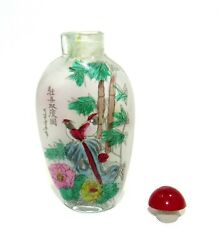 Glass Snuff Bottle Magpie+yellow Birds 2-side Reverse Hand-painted Bamboo Floral