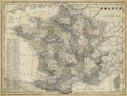 Art-print-antique-map-of-france-vision-52x39in-horizontal-image-on-paper-canvas