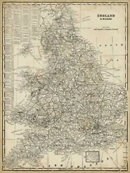 Art-print-antique-map-of-england-vision-39x52in-vertical-image-on-paper-canvas-