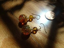 Murano Glass Earrings With 24 Karat Gold Foil And Amber Accents