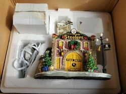 Danbury Mint Pittsburgh Steelers Firehouse Christmas Village In Box Nice Lighted