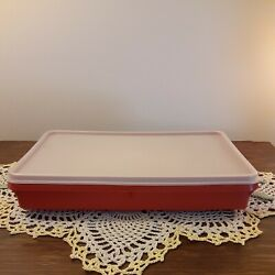 Vintage Tupperware 794 Bacon cold cut Keeper Paprika Red Lid amp; 795 Container