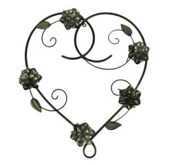 Metal Heart and Flowers Decorative Wall Sculpture