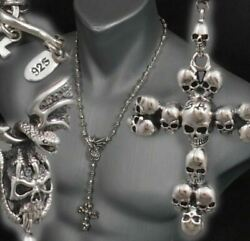 Skull Crown Cross Rosary 925 Sterling Silver Mens Necklace Chain 18 20 22