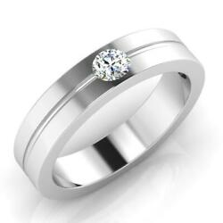 Natural 0.24 Ct Diamond Engagement Menand039s Ring Solid 14k White Gold Round Band 7