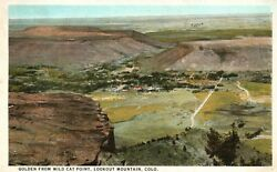 Vintage Postcard 1928 Golden from Wild Cat Point Lookout Mountain CO Colorado