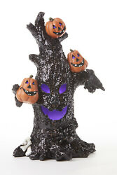 New Halloween SPOOKY BLACK TREE WITH PUMPKINS LIGHTED FIGURINE LED Lights 10quot;