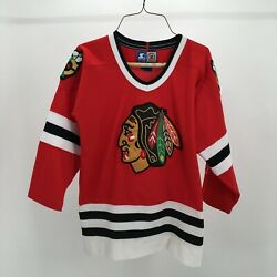 Starter Chicago Blackhawks Jersey Youth S/m Red Hockey Nhl Authentic Stitched