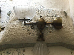 Early Antique Gas And Electric Wall Sconce With Shades