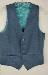 Bar K Vtg Blue Polyester Fabric Lined Vest Menand039s Size Small Mint