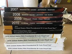 2007-2016 Us Mint Presidential 1 Coin Proof Sets W/ Ogp And Coa