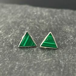 Vintage 925 Sterling Silver Post Stud Earrings Malachite Triangles