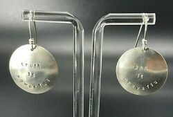 Vintage 925 Sterling Silver Dangle Earrings Andldquotruth Is Powerful And It Prevailsandrdquo